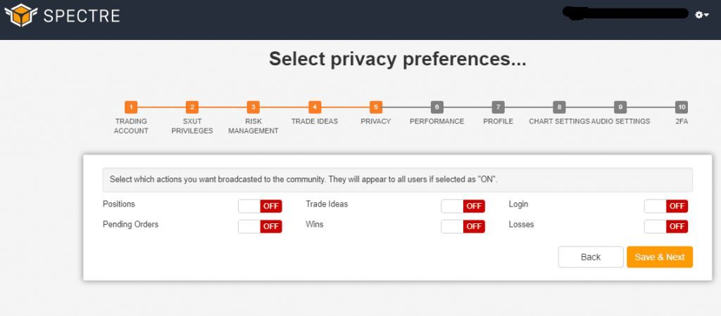 select privacy preference