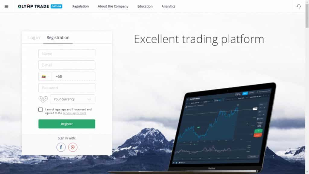 olymptrade registration page